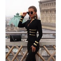 Top Quality New Fashion Hot Sale  Rayon Bandage Coat Celebrity Party Women Jackets