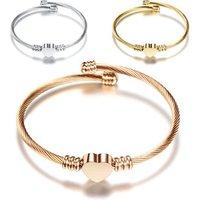 Fashion gold heart stainless steel bangle charm bracelet For Women Wholesale N95091
