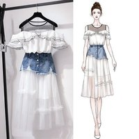 wholesale 2019 ladies fashion dresses short sleeves top and jeans skirt with mesh lace two pieces set women casual dress