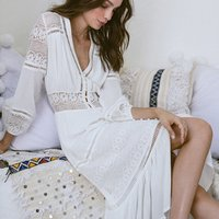 women V neck floral lace sexy hollow out embroidery cover up split bohemian dress maxi beach linen white Cotton Boho party dress