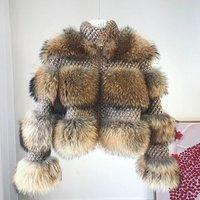 New Fashionable Style Real Raccoon Fur Coat  Ladys Real Fur Jacket Wholesale