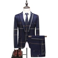 European Style Retro Check Business Slim Fit 3 Pieces Suit For Men