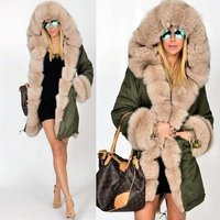 alson Hot Women Ladies Winter Long Warm Thick Parka Faux Fur Jacket Hooded Coat