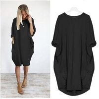 Hot Womens Loose Pocket Long Dress Short Sleeve Split Maxi Casual Dress
