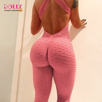 Backless Fitness Workout Jumpsuit Womens Athletic Wear Push Up Yoga Sport Leggings