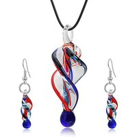 2018 Your Ways Your Fashion Green Trending Murano Glass Jewelry Pendant Necklace and Earrings Set