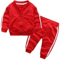 S6022Y 2018 autumn fashion baby girl clothes cotton long sleeve solid jacket+pants 2pcs bebes tracksuit baby boy clothing