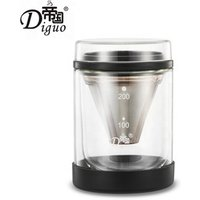 2019 Hot Selling 200ml Portable Black Color Double Layer Pyrex Glass Cold Brew Coffee Tea Maker With Stainless Steel Filter Cone