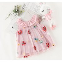 Baby clothing Kids clothes Pink sleeveless Embroidery girl dress