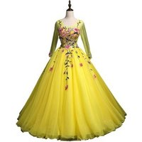 Gorgeous Princess Long Sleeves Evening Party Dress for Women Bright Yellow Tulle Ball Gown Quinceanera Dress