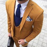 2019 Smoking Grey/Yellow Trajes De Hombre Men Suit For Wedding Terno Masculino Tuxedo Summer Man Suit(Jacket+Pants+Vest+Tie)