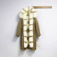 Women Real Rabbit Fur Lined Parka with Real Raccoon Fur Collar Jacket Long Style Parka