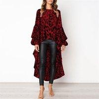 High Quality Autumn Winter O Neck Sexy Long Sleeved Leopard Dress Shirt Casual Irregular Women Dress