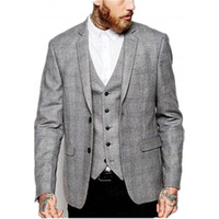 Top Brand Grey Mens Check Fabric Formal 3 Piece Suit Groom Wear