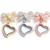 Heart Crystal Bowknot Memory Floating Locket Charm Pendant