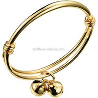 fashion jewellery in china double layers non-allergic gold baby jewelry bangle with bell