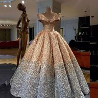 Good quality plus big size customized champagne sequined puffy evening party off the shoulder 2019 prom dresses MPA238