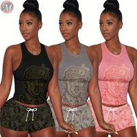 9053115 queenmoen Summer streetwear dollar printed tracksuit women two piece suit