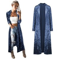 2019 New Autumn Winter Lady Long Sleeve Plus Size Velvet Cardigan Long Casual Trench Coat Women