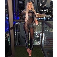 2019 New Arrival Sexy Transparent Beading  Wholesale Womens Celebrity Fashion Evening Party Jumpsuits