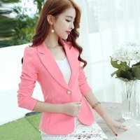 2019 Spring Autumn Women Long sleeve Slim Blazer Pink Blue Black Mujer Office Suits