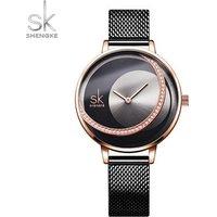 Shengke Fashion Lady Watches Luxury Brand Women Dress Watch Original Design Quartz Wristwatch Creative Relogio Feminino