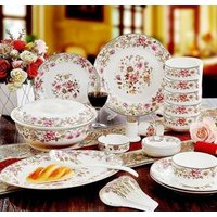 56PCS Fine Porcelain Dinnerware Sets Dinning plates soup bowl wedding dishes and plates Ceramic crockery