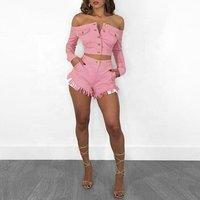 Hot Pant Mini Short Mujer Jeans For Women Girl Short Jeans Pink Denim Jacket