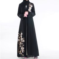 summer breathable modern kaftan morocco moroccan muslim black floral embroidered kimono