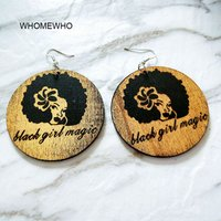 'Natural Wood Black Girl Magic Engraved Women Head Tribal Tropical Earrings Vintage Wooden African Hiphop Jewelry Club Accessory