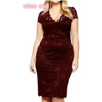 S-5XL New Fashion Women Plus Size Dress V-Neck Floral Lace Bodysuit Pencil Dress