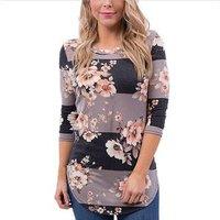 Fall 2019 Autumn 3/4 Sleeve Shirt Tunic Tops Blusas Feminina Fashion Womens Blouse Casual Floral Print Long Sleeve Blouses