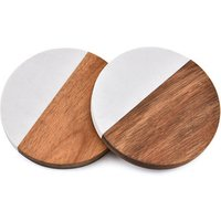 Table Insulation mat round acacia wood coffee cup coaster with marble