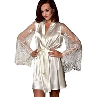 Summer White Faux Ice Silk Bathrobe Kimono Sleepwear Womens Lace Pajamas From China Wholesale