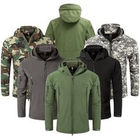 Mens Softshell Army Fans Military Tactical Jacket Camouflage Waterproof Combat Jacket Hoody Coat Army Uniform