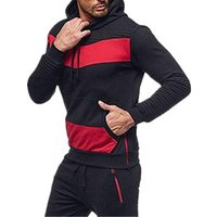 2019 New mens fashion brand tracksuit Solid color  casual hat hooded long-sleeved sports suit mens sportswear mens survetement