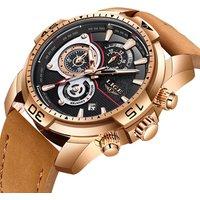 LIGE Mens Watches Top Brand Luxury Waterproof Sport Casual Leather Watch Men Chronograph Quartz Wristwatch Men