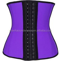 Womens latex waist trainer belt 4 steel boned corset shapewear waist cincher
