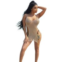 Womens Sexy O-Neck Side Metal Chains Swimsuit Cover Ups Short Sleeveless Beach Dress