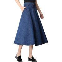 Long Women Denim Skirt Blue Midi Jeans Skirt