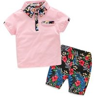 Fashion flowers baby kids short children polo shirts boys clothing sets for summer