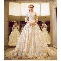 New Style Custom Made Elegant A-line Scalloped chiffon and Three-Quarter sleeve long wedding dress bridal gown TS33