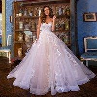 Sweetheart light pink ruffles pleating tulle wedding dress ball gown