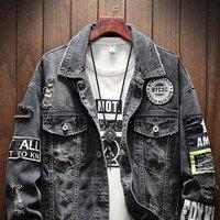 Wholesale Custom Streetwear Denim Mens Cotton Ripped  Jacket