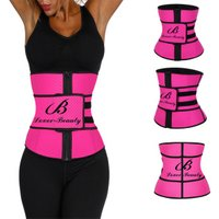 Latest Style Private Label Custom Logo Latex Waist Training Rose Red Punching 7 Steel Boned With Zip Waist Trainer Corset