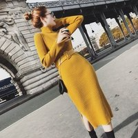 YSMARKET 11 Color Sweater Knit Dress Slim Fit Pack Hip Pencil Tight Spring Autumn Winter Fashion Women Long Sleeve Dresses E4035