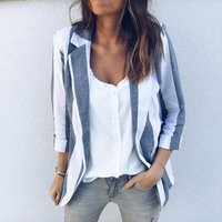 Ladies Business Formal Blazer Wholesale Fashion Elegant Linen Short Jacket Coat Office Striped Lady Basic Women Dress Blazers