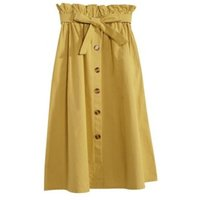 2019 women yellow linen midi skirt buttons fashion side open ladies skirts high street brand