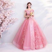 fashion princess evening dress off shoulder v neck flower embellished pink Wedding Dresses ball gown