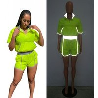 Cool Style Reflective Light Tracksuit Summer Two Piece Set Women Outfits Slim Fit Neon Tops And Shorts Suit New Y11713
